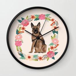 german shepherd dog floral wreath dog gifts pet portraits Wall Clock