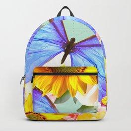 Bright Blue Butterflies Yellow Flowers #decor #society6 #buyart Backpack