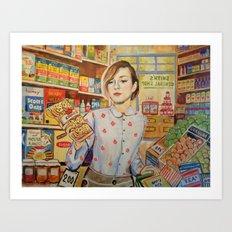 Supermarket vintage, painting, retro Art Print