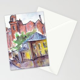 Houses in old town by watercolor Stationery Cards