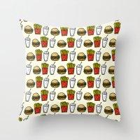 junk food Throw Pillows featuring Junk Food Pattern by mebz art
