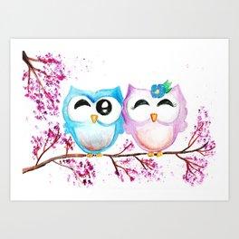 2 Cute Owls in Love Art Print