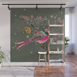 Gray Blossom Wall Mural