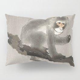 Monkey sitting on persimmon tree - Vintage Japanese Woodblock Print Pillow Sham