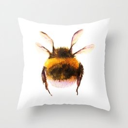 Cute Watercolor Bumblebee Throw Pillow