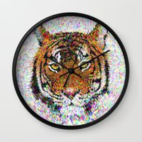 tiger Wall Clocks featuring Tiger by David Zydd