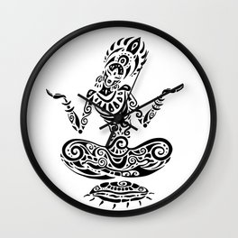 Tara. Yoga, Meditation lotus pose. Hand Drawn Illustration. Polynesian style tattoo. Wall Clock