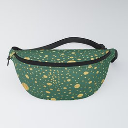 Gold leaf hand drawn dot pattern on petrol green Fanny Pack