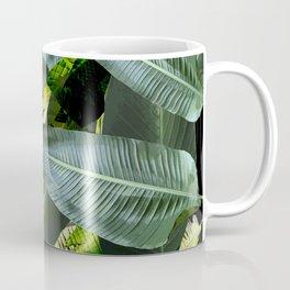 Topical palm leaf, banana leaf, black background, greens, Beach Hawaii decor Coffee Mug