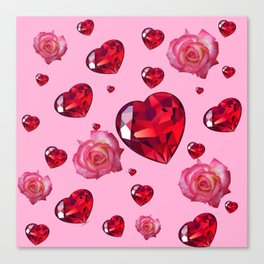 PINK  ART RAINING ROSES RUBY RED VALENTINES HEARTS Canvas Print