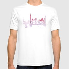 Watercolor landscape illustration_London Mens Fitted Tee MEDIUM White