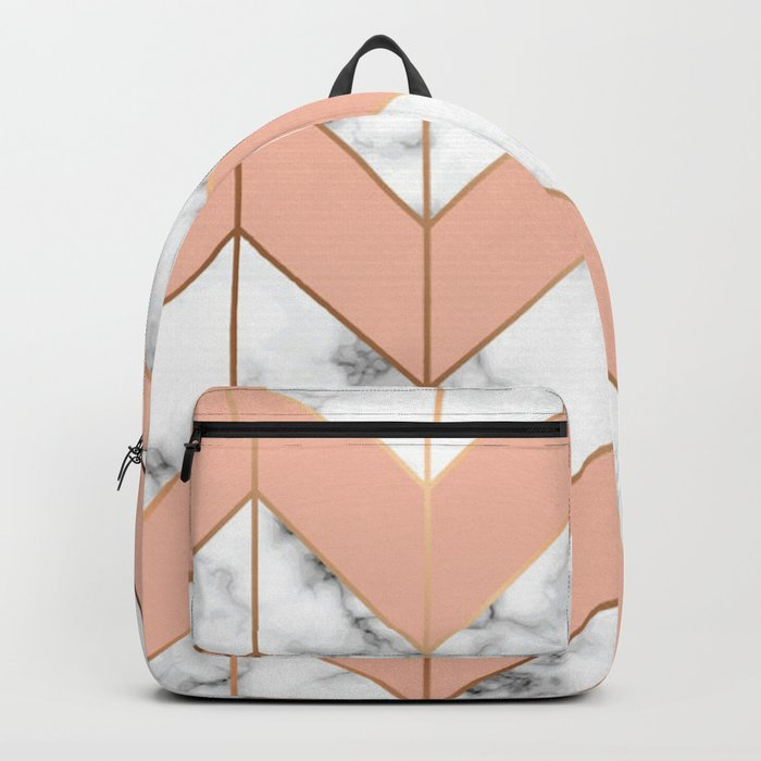LUXE ROSE GOLD VECTOR ON BLACK AND WHITE MARBLE Backpack