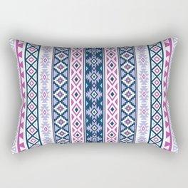 Aztec Stylized Pattern Blues Pinks Purples White Rectangular Pillow