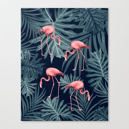 Summer Flamingo Jungle Night Vibes #1 #tropical #decor #art #society6 Canvas Print