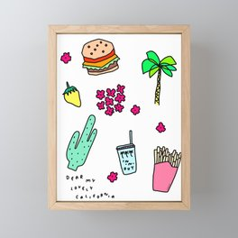 Dear My Lovely California - Burger Cactus Palm Tree Tropical Pattern Framed Mini Art Print