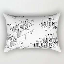 Legos Patent - Legos Brick Art - Black And White Rectangular Pillow