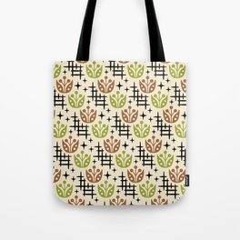 Mid Century Modern Space Flower Pattern Brown and Chartreuse Tote Bag
