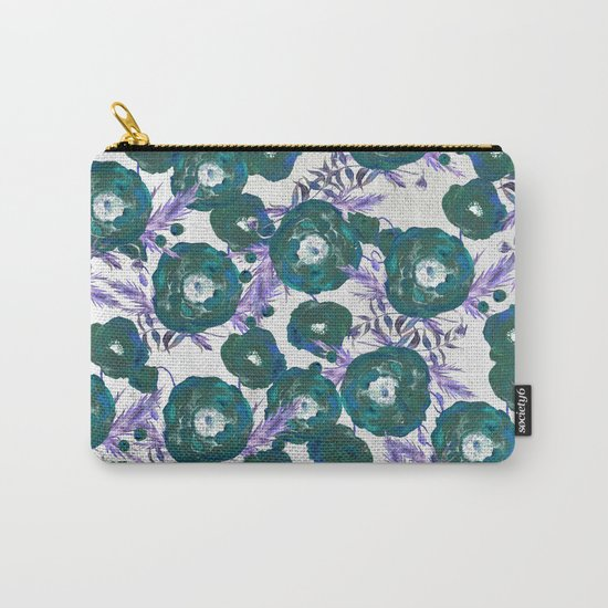 Abstract Poppy Pattern Green Carry-All Pouch