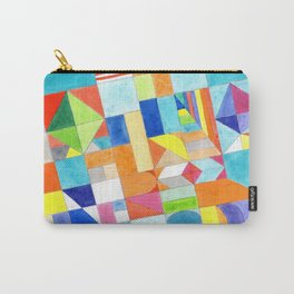 Playful Colorful Architectural Pattern Carry-All Pouch