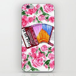 Accordion with pink roses iPhone Skin