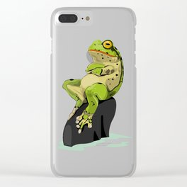 Relaxing Frog Clear iPhone Case