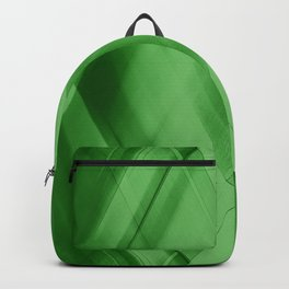 Wicker triangular strokes of intersecting sharp lines with malachite triangles and stripes. Backpack