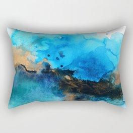 Blue gold flow abstract Rectangular Pillow