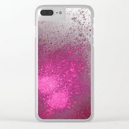Pink and Grey Spray Paint Splatter Clear iPhone Case
