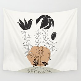 Natural Line Art - Plant Roots Wall Tapestry