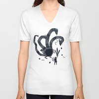 hydra V-neck T-shirts featuring hydra(dark) by Louis Roskosch