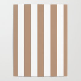 Pale taupe violet - solid color - white vertical lines pattern Poster