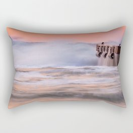 Waves over the pier at sunset Rectangular Pillow