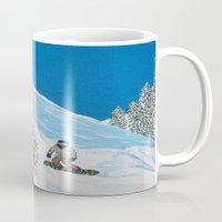snowboarding Mugs featuring Snowboarding by N_T_STEELART