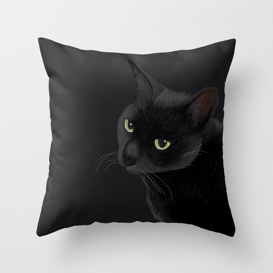 Black cat in the dark Throw Pillow by BATKEI Society6