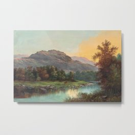 A Deer at the Edge of a Highland Stream nature landscape painting by William Henry Millais Metal Print