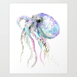 Octopus soft gray violet, turquoise soft colored octopus design beautiful octopus decor Art Print