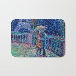 """Lovers in Rainy Paris"" - Palett knife figurative city landscape by Adriana Dziuba Bath Mat"