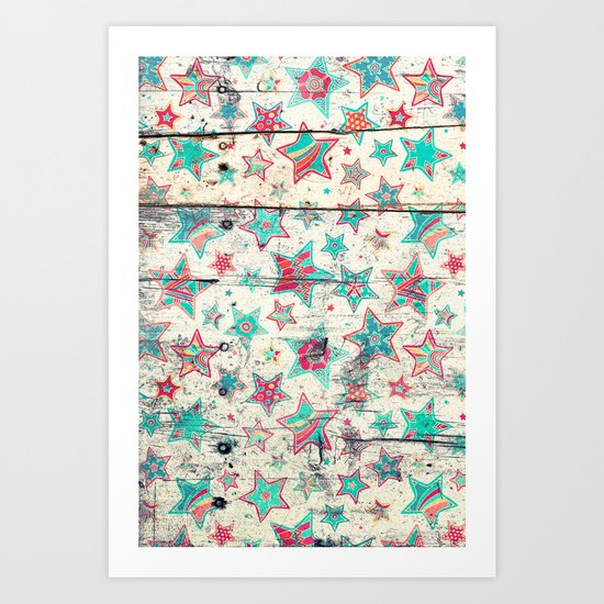 Grunge Stars on Shabby Chic White Painted Wood Art Print