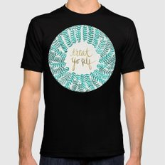 Treat Yo Self – Gold & Turquoise Mens Fitted Tee 2X-LARGE Black