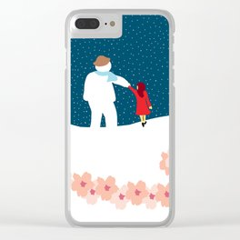 A Stroll with Snowman Clear iPhone Case
