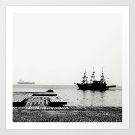 ships on a calm sea black and white Art Print