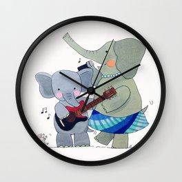 La familia elefante Wall Clock