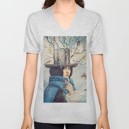 The Lady With The Bird Feeder Hat Unisex V-Neck