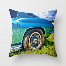 Blue Chevrolet Corvette Sting Ray Throw Pillow
