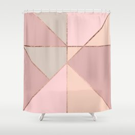 Modern rose gold peach blush pink color block Shower Curtain