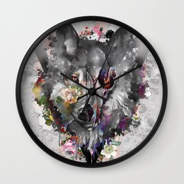 floral wolf 3 Wall Clock