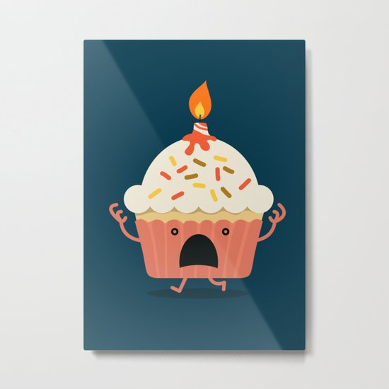 Cupcake on fire Metal Print
