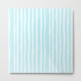 White winter birch forest- With snow covered trees- pattern on teal Metal Print