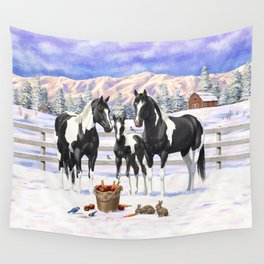 Black Pinto Horse Family Paint Horses In Snow Wall Tapestry