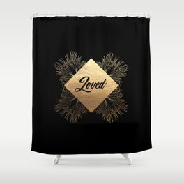 Loved - Black and Gold Design Shower Curtain